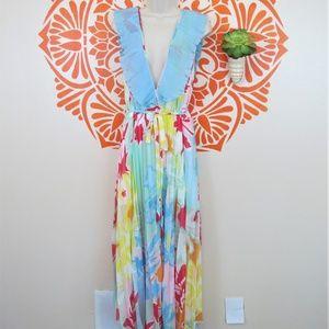 Topshop Pastel Ruffled Pleated Low Cut Dress 10